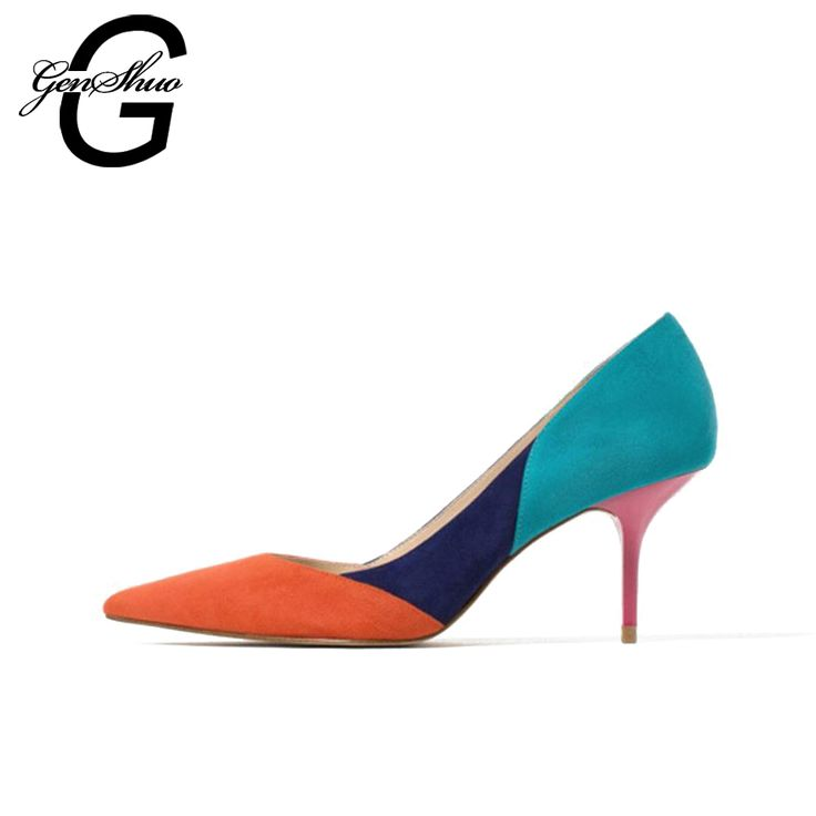 GENSHUO Mixed Color Pointed Toe High Heels Shoes Autumn Wedding Female  Simple Women s Pumps Dress Heels d3c5c01cbf4f