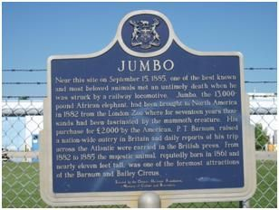 Photo of the Jumbo historical plaque in St. Thomas- Want to go see the elephant!