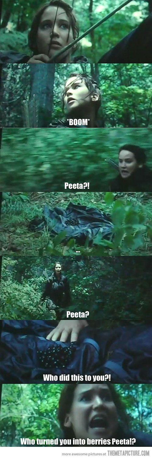 Who did this to you? Who turned you into berries,Peeta? AHAHAHAHAHA