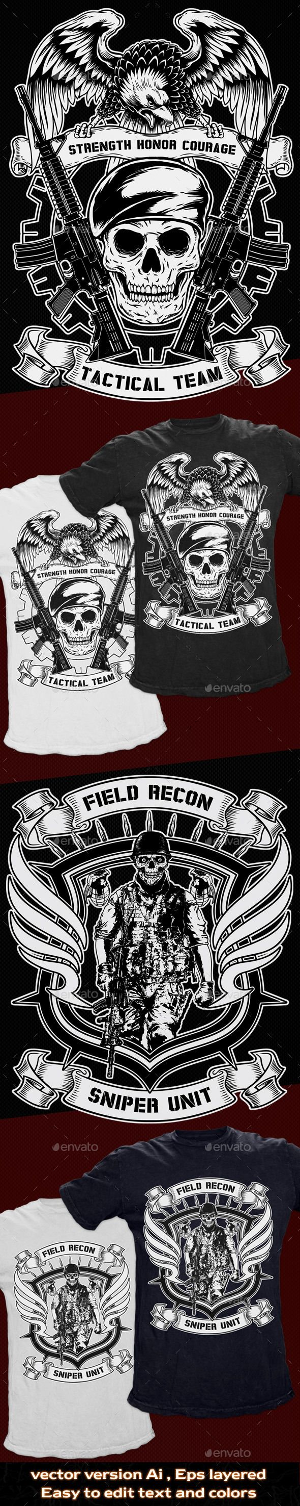 2 #T-Shirt #Template Military #Theme - T-Shirts Download here: https://graphicriver.net/item/2-tshirt-template-military-theme/10875824?ref=alena994
