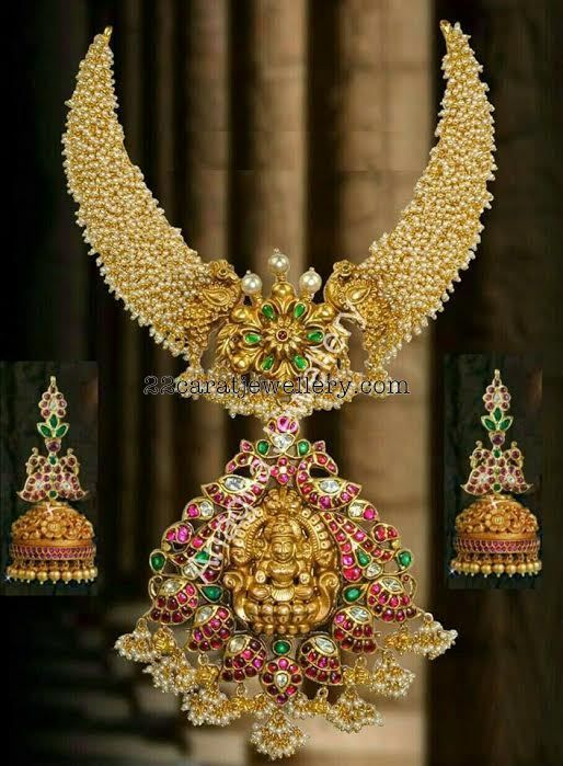 Pearl Necklace with Mango Jhumkas