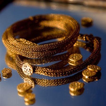 Golden Souk woven jewelry bracelet (brass) by Pantheia   $60