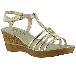 Bella Vita Italian Collection Caramelle LeatherWedge Sandals A3327432