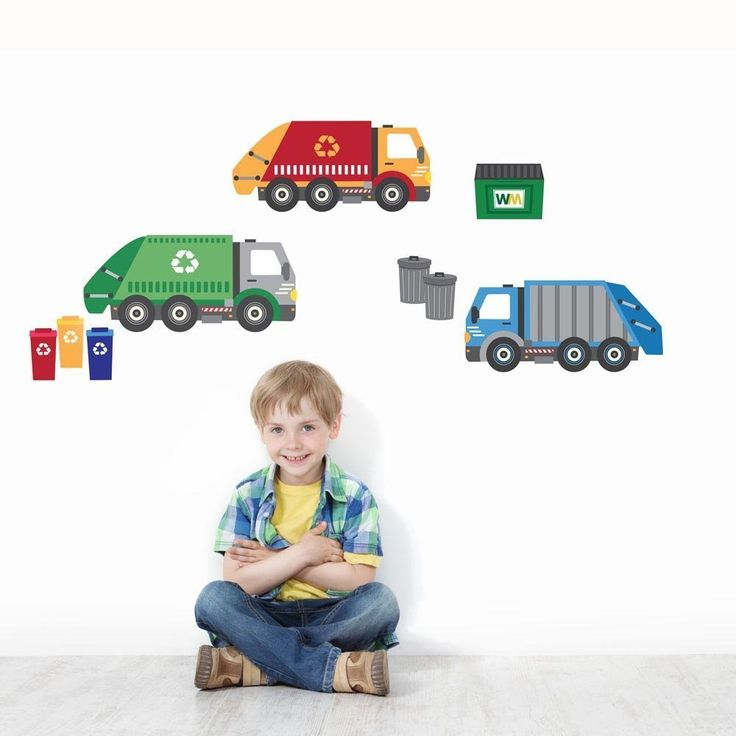 Garbage Truck and Recycling Truck Wall Decals, Peel and Stick Eco-Friendly Fabric Wall Stickers. Our newest set of transportation wall decals. Garbage truck and recycling truck wall decals for the kid who's obsessed with sanitation trucks! Repositionable and reusable! Peel and stick adhesive fabric wall stickers that are eco-friendly and PVC free so they are great for kids to arrange and rearrange on the wall however they like. They are a perfect add-on to our other trucks and…
