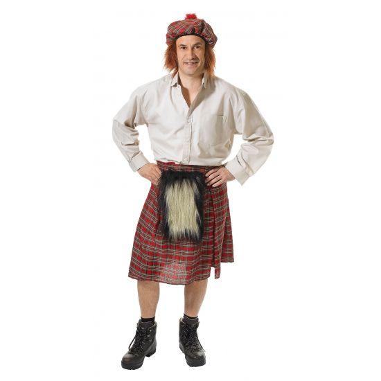 Schotse kilt met hoed voor heren  Schots kostuum voor heren. Dit Schotse heren kostuum bestaat uit een Schotse kilt en hoed. De kilt is one size en past ongeveer tot maat L.  EUR 19.95  Meer informatie