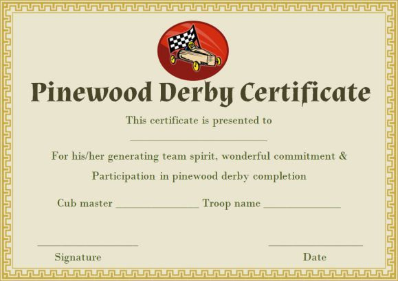 9 Best Pinewood Derby Certificate Template Images On Pinterest