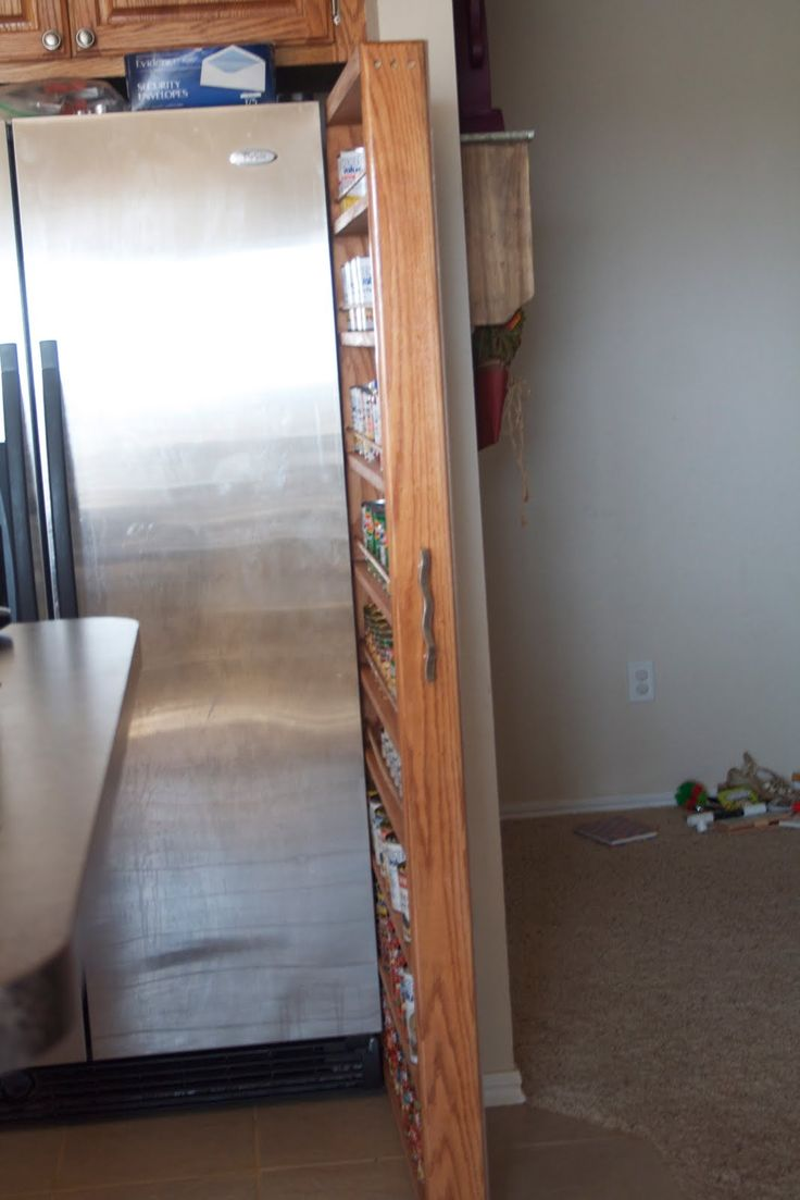 Learning to be me: Cabinet DIY completed and tutorial - Slider for cans beside fridge -