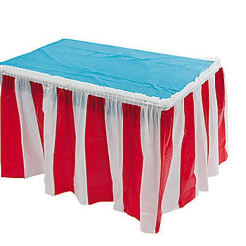 CIRCUS-CARNIVAL-Red-amp-White-Stripe-Table-Skirt-4-26m