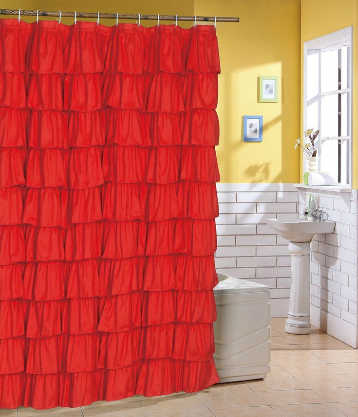 Spring Home   ruffle fabric  shower curtain bath color Red BEAUTIFUL PLAI #springhomedisgen #Modern