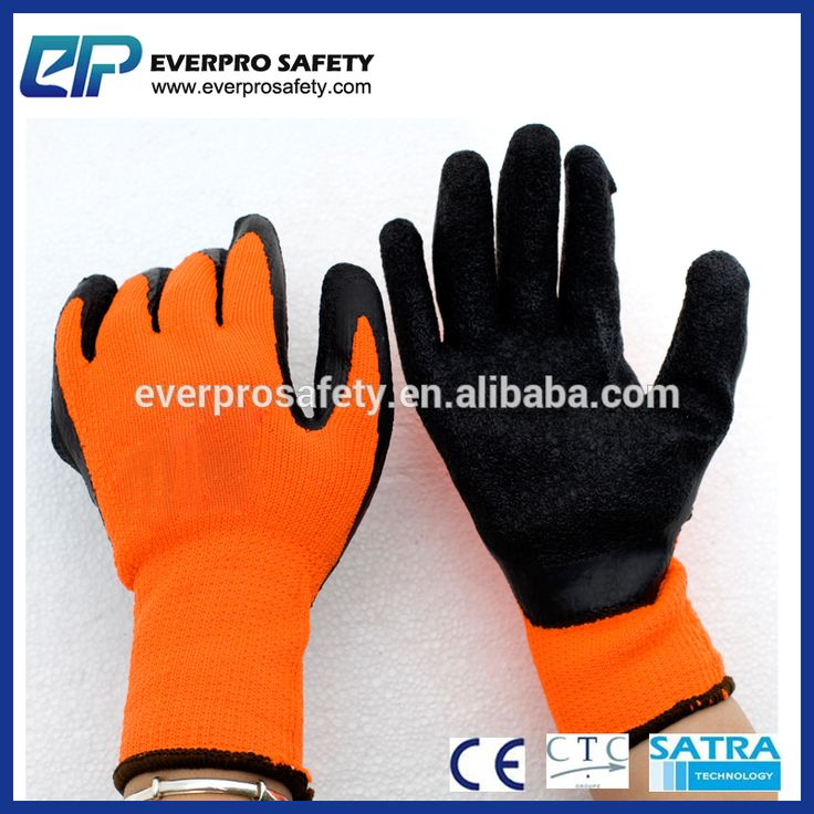 Orange Polycotton Black Latex Dipping Winter Insulated Gloves With Terry Lining