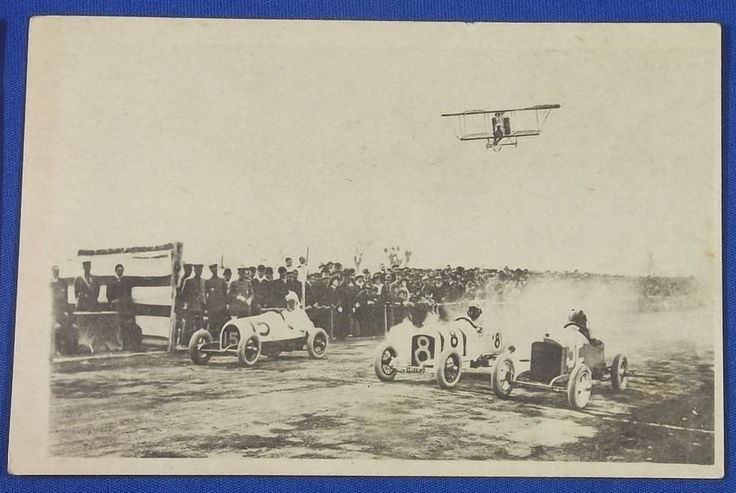 1910's Japanese Photo Postcard : Miniature motor car racing / and an airplane ( biplane ) flying over it  , mini car automobile / vintage antique old art card / Japanese history historic paper material Japan