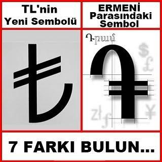 """Как всегда, нашлись недовольные, которые стали орать, что новый символ турецких денег дюже похож на символ армянской валюты. """"Найдите 7 отли..."""