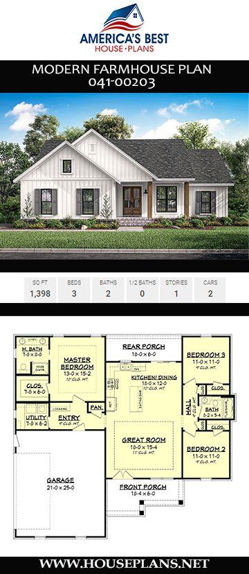 Modern Farmhouse Plan 041-00203