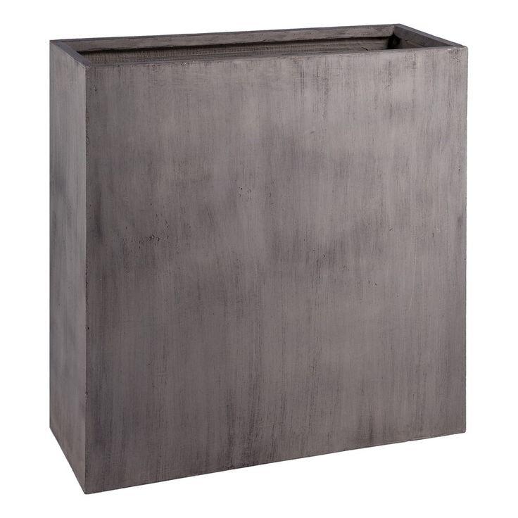 Jardinière haute en fibre d'argile, gris ciment L. 90 x 36 x H. 90 cm