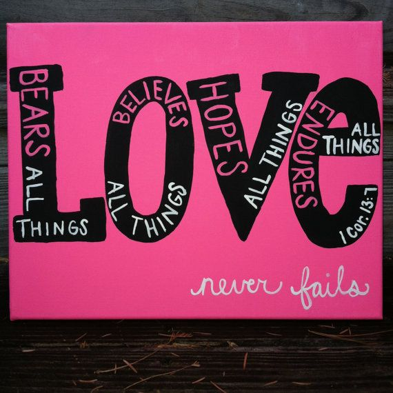 Canvas Painting - Love - 1 Corinthians 13:7