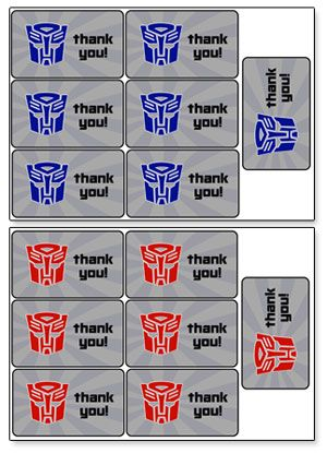 transformers party favor tags