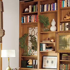 2010 Louisiana Idea House   Handsome Bookshelves   SouthernLiving.com: Tall Mirror, Louisiana Idea, Garden Ideas, Decor Ideas, Handsome Bookshelves, House Bookshelves, Bookshelves Add, Idea House, Bookshelf Ideas