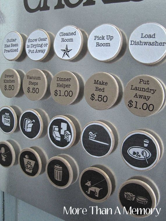 Set of 10 CUSTOM Chore Magnets Custom Chore by MoreThanAMemoryAK. So clever! Need this with £'s though!