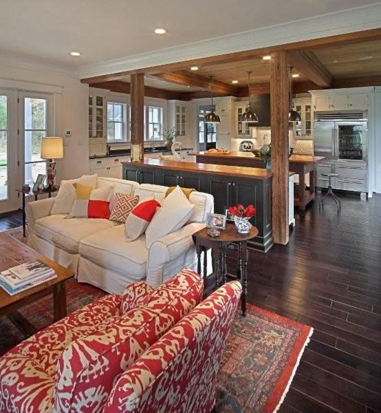 pic 1 of 4. So in love with this space. Kitchen, family, and dining areas that flow so beautifully. Modern farmhouse kitchen | KDW Home