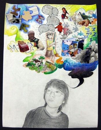 Thomas Jefferson Middle School— grade 8  Students created an expressive self-portrait using the gridding method. In response to a writing assignment, students them used various methods, such as painting drawing and collage, to create a mixed media collage about themselves and what they think about.