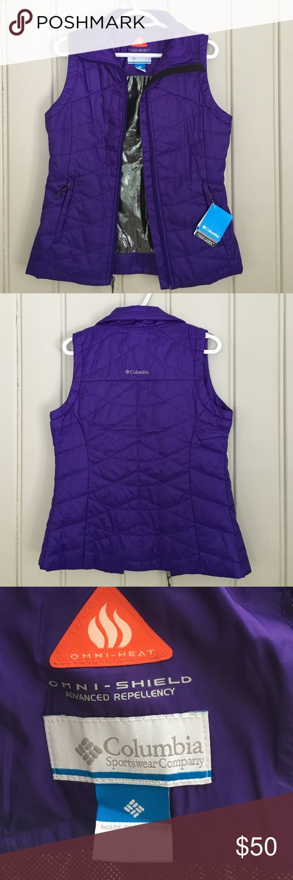 Columbia Omni-heat vest Great purple color, never worn and in perfect condition. This vest would be perfect for cold days as well as adding a great layer to an outfit! Columbia Jackets & Coats Vests