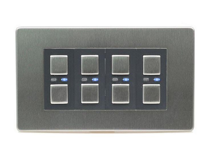 lightwaverf jsjslw440ss 4 gang 1 way 210 w master light dimmer switch stainless steel