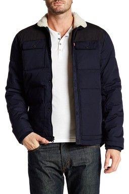 Quilted Faux Shearling Lined Shirttail Jacket