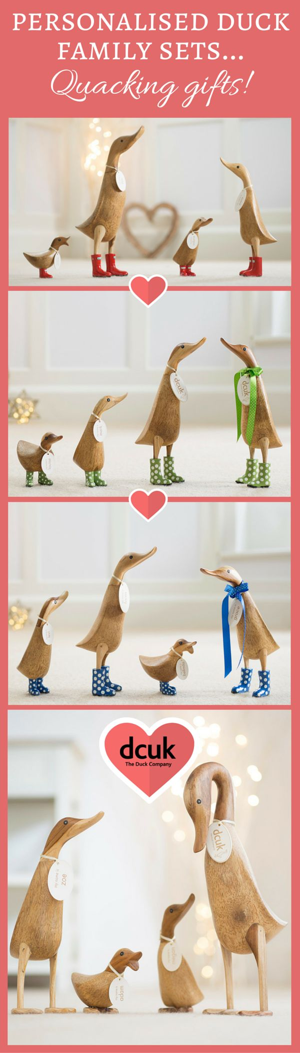 Our duck family sets make quacking gifts or home decor accessories! Each is a set of four, and each can be given the name of your choice on their tag! Waddle over to our website to see all our family sets today at The Duck Company, DCUK
