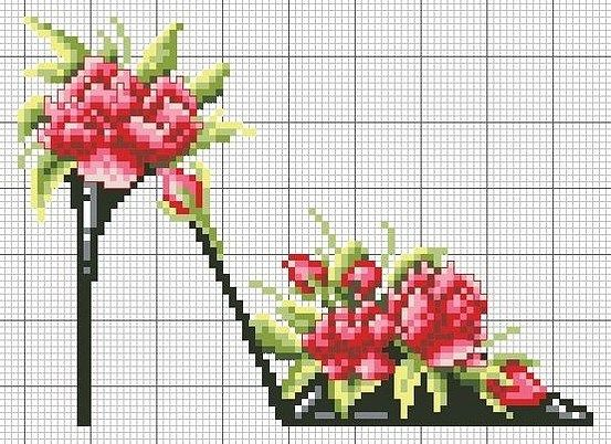 high heel with roses cross stitch chart