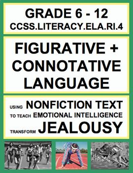 Figurative + connotative language (RI.4) assessment, independent practice printable or test prep activity using a high-interest SEL-aligned nonfiction article about how to transform jealousy and envy into motivation.    Independent practice or assessment of common core ELA skills with social emotional intelligence content!
