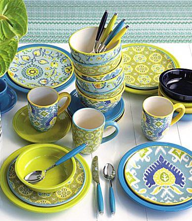"Certified International ""Boho Brights"" http://www.everythingturquoise.com/2012/02/certified-international-boho-brights.html"