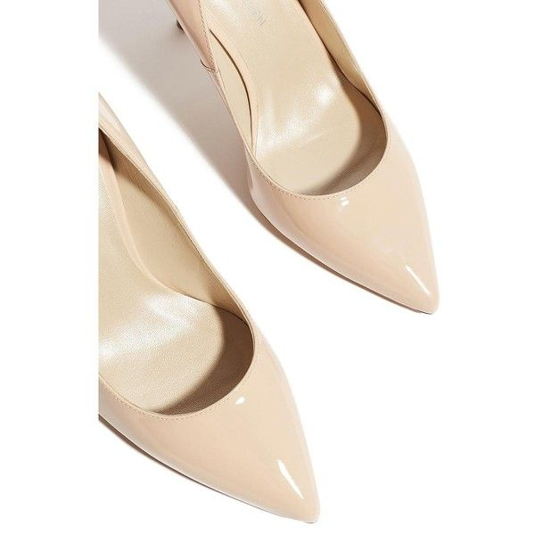 Karen Millen Patent Leather Court Shoes ($180) ❤ liked on Polyvore featuring shoes, pumps, slip-on shoes, patent pumps, nude high heel shoes, nude shoes and high heel shoes