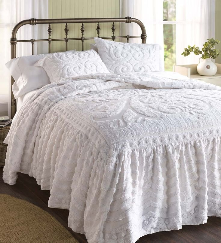 Flourish Skirted Chenille Bedspread   Delicate, dainty and distinguished, our Flourish Chenille Bedspread will make your bed the focal point of your room. This bedspread has embossed detailing, finished with an attached skirt. It's an easy two-in-one bedspread, without the hassle of lifting the mattress to tuck the skirt under.