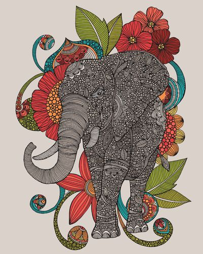 Ruby Elephant Art Print I want to try to draw this sometime!