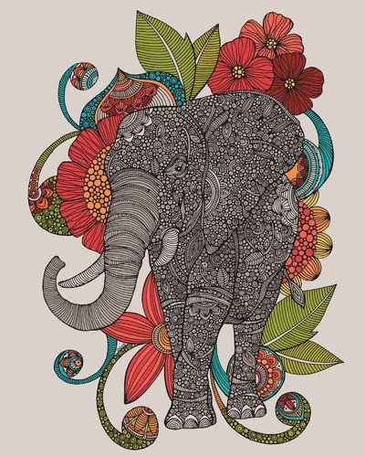 Ruby Elephant Art Print