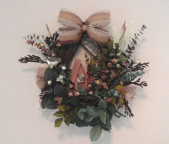 Basket Wreath, Grapevine, Bird, Bird House, Woodland, Floral, Kitchen, Front Door, Winter, Spring, Rustic, Unique, Gift Idea, Home Decor