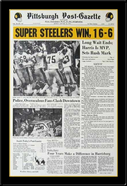 PITTSBURGH STEELERS~post-gazette superbowl 9