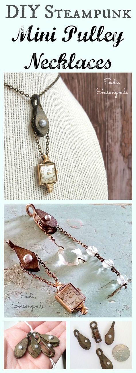 DIY steampunk necklace with a repurposed mini vintage industrial pulley, broken watch, Italian rosary beads, and salvaged chandelier crystals by Sadie Seasongoods / www.sadieseasongoods.com