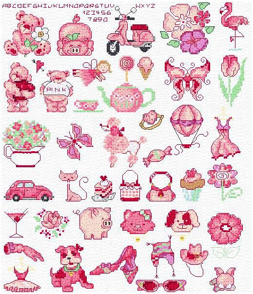 Maria Diaz Designs: PINK MOTIFS (Cross-stitch chart)