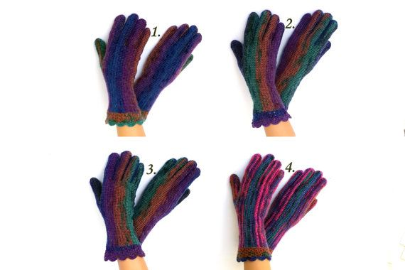 Gloves with fingers Hand knitted blue violet green brown