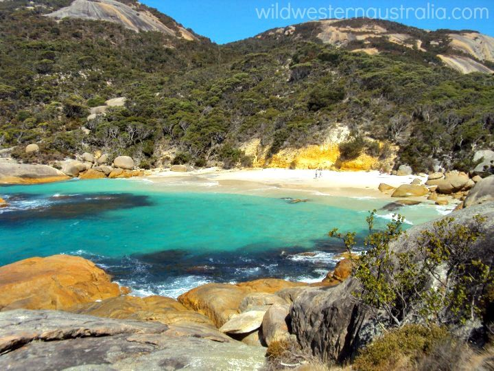 Waterfall Beach in Two Peoples Bay Nature Reserve, east of Albany, Western Australia. Albany beaches are renowned for having the cleanest powder white sand and crystal clear turquoise water.