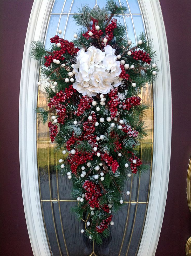 "Christmas Wreath Winter Wreath Holiday Vertical Teardrop Swag Door Decor..""Snow Berries"". via Etsy."