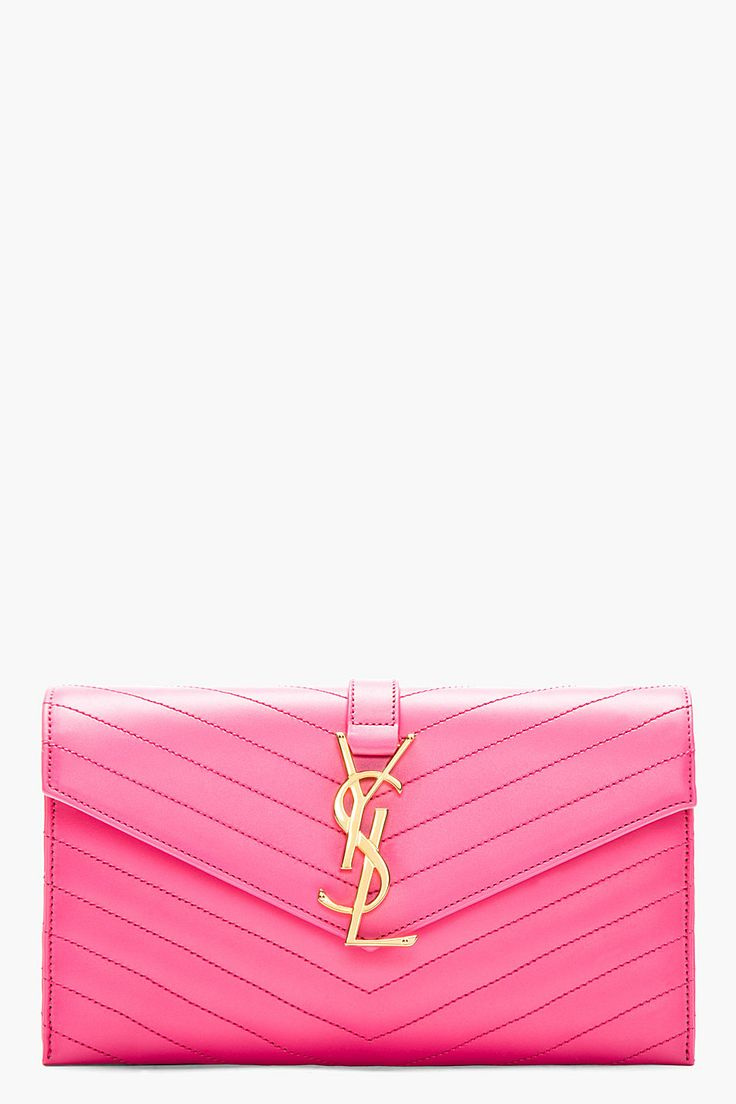 Saint Laurent Hot Pink Leather Quilted Envelope Clutch