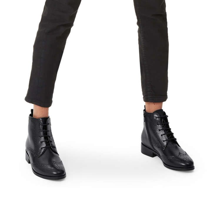 Shop TOBY Black Flat Lace Up Boots by