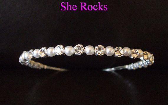 Designer bridal headband, simple pearl and Swarovski rhinestone bridal headdress pearl & diamante wedding hair accessory hairband tiara