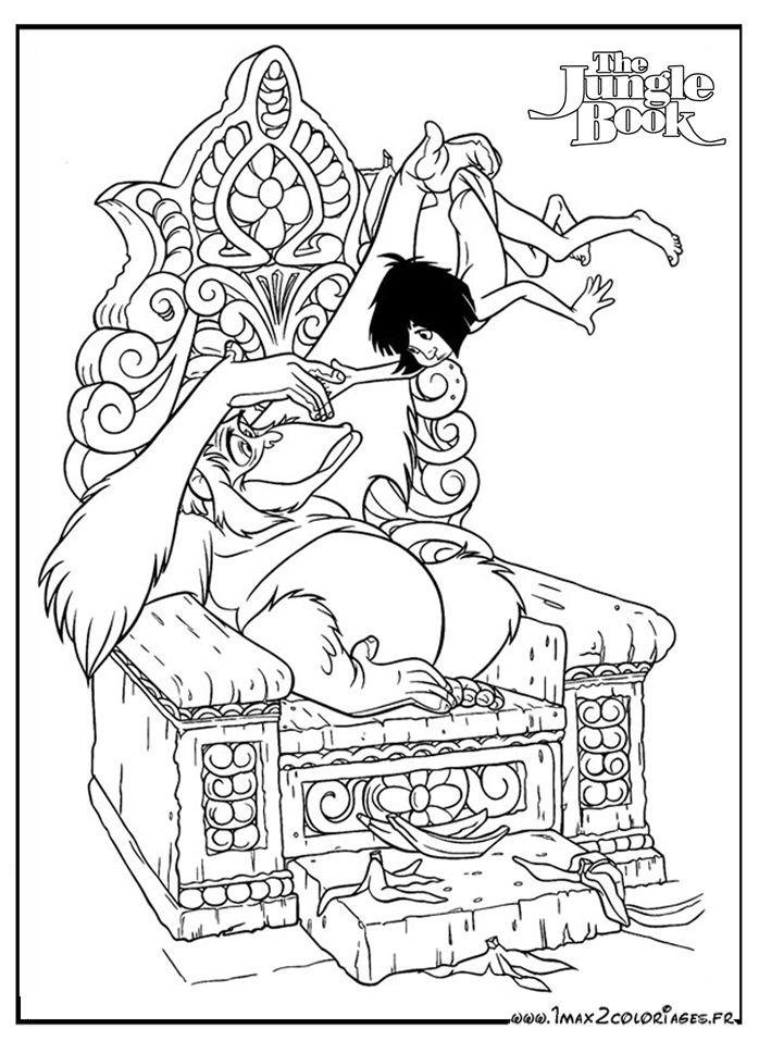 Roi Louie porte Mowgli coloriage