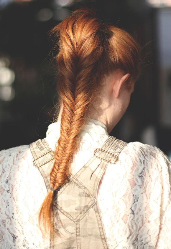 Add some volume to your up-do by fish tailing the ends! It also creates a visually dynamic aspect to the simple, classic pony tail.