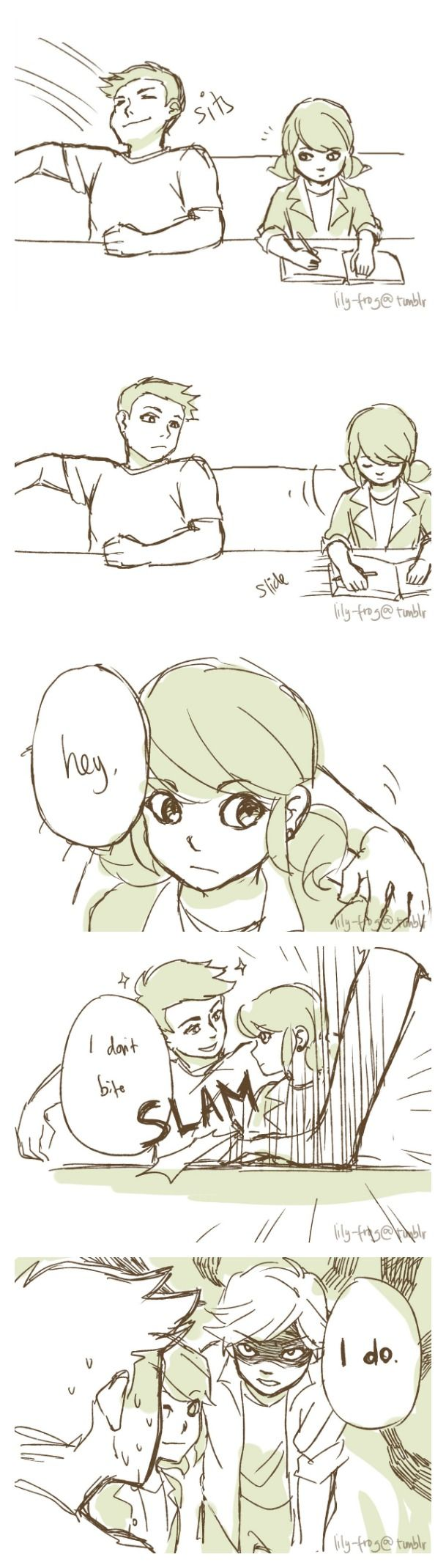 That boy better back off from his lady! (Miraculous Ladybug, Protective comic, Marinette, Adrien, Adrinette)