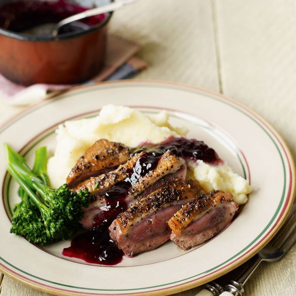 Peppered duck breast and blackcurrant sauce is a fast and elegant supper for two. Try it with venison steaks instead of duck.