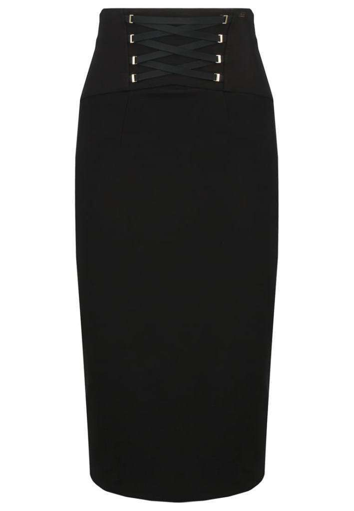 Pencil skirt Autunno-Inverno 2016-2017  ELISABETTA FRANCHI PENCIL SKIRT Gonna a tubino nera con nastri per l'inverno 2017